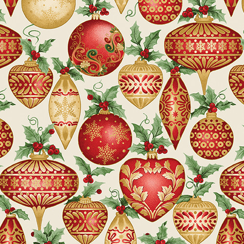 Festive Ornaments - Cream - Fabric - Benartex
