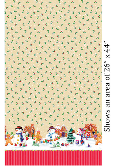 Snowman Border - Ivory - Fabric - Benartex