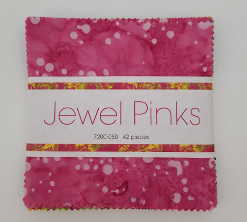 "Jewel Pinks - Batiks - 5"" Squares - 42 pieces"