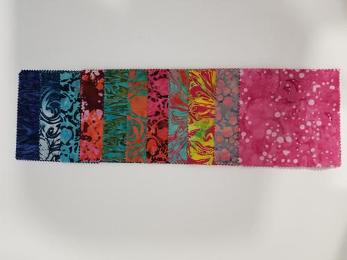 """Jewel Pinks - Batiks - 5"""" Squares - 42 pieces"""