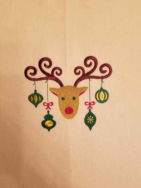 "Ornament Reindeer 1 - Kitchen Towel - 20"" x 28"" Embroidery on a white towel. 100% Cotton with loop, for optional hanging. Machine washable in cool water and tumble dry at low temperature. Minimal shrinkage. Size: 20"" x 28"""