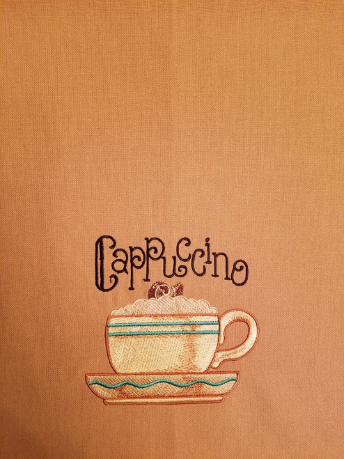 "Cappucicno - Kitchen Towel - 20"" x 28"" Embroidery on a wheat colored towel. 100% Cotton with loop, for optional hanging. Machine washable in cool water and tumble dry at low temperature. Minimal shrinkage. Size: 20"" x 28"""