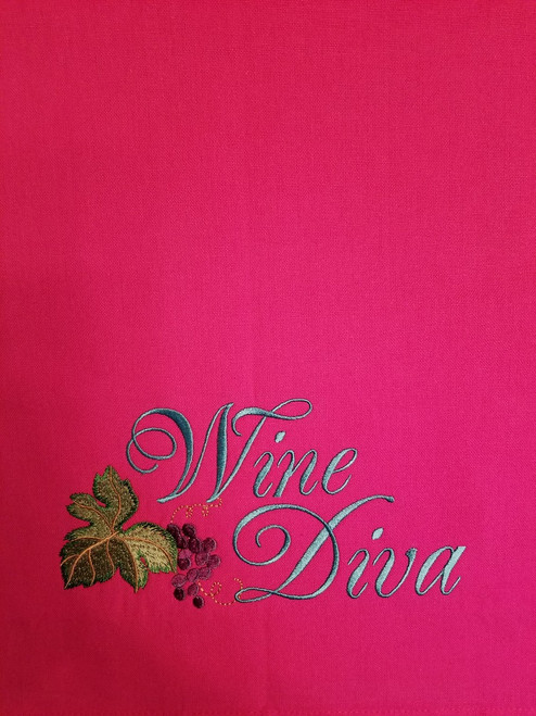 "Wine Diva 1 - Kitchen Towel - 20"" x 28"" Embroidery on a hot pink colored towel. 100% Cotton with loop, for optional hanging. Machine washable in cool water and tumble dry at low temperature. Minimal shrinkage. Size: 20"" x 28"""