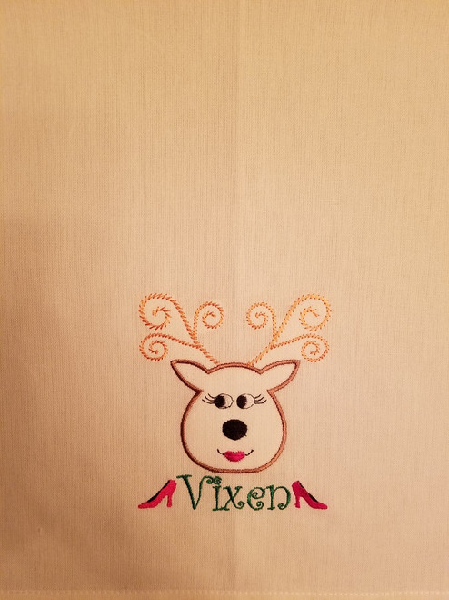 "Vixen 2 - Kitchen Towel - 20"" x 28"" Embroidery on a white towel. 100% Cotton with loop, for optional hanging. Machine washable in cool water and tumble dry at low temperature. Minimal shrinkage. Size: 20"" x 28"""