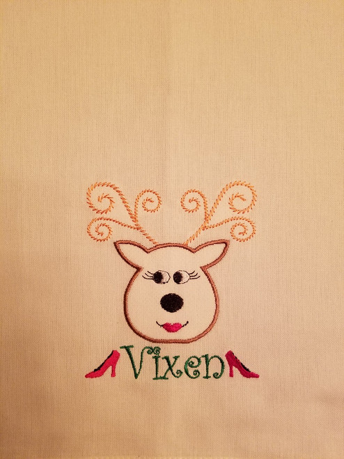 "Vixen 1 - Kitchen Towel - 20"" x 28"" Embroidery on a white towel. 100% Cotton with loop, for optional hanging. Machine washable in cool water and tumble dry at low temperature. Minimal shrinkage. Size: 20"" x 28"""