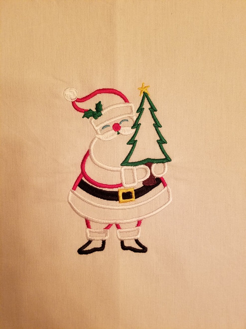 """Santa - Kitchen Towel - 20"""" x 28"""" Embroidery on a white towel. 100% Cotton with loop, for optional hanging. Machine washable in cool water and tumble dry at low temperature. Minimal shrinkage. Size: 20"""" x 28"""""""