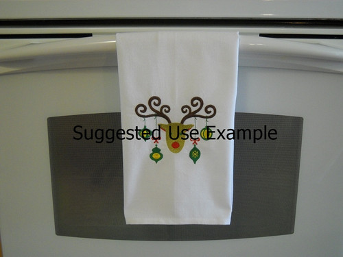"""Rudolph 2 - Kitchen Towel - 20"""" x 28"""" Embroidery on a white towel. 100% Cotton with loop, for optional hanging. Machine washable in cool water and tumble dry at low temperature. Minimal shrinkage. Size: 20"""" x 28"""""""
