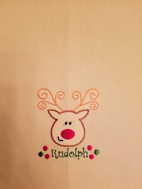 """Rudolph 1 - Kitchen Towel - 20"""" x 28"""" Embroidery on a white towel. 100% Cotton with loop, for optional hanging. Machine washable in cool water and tumble dry at low temperature. Minimal shrinkage. Size: 20"""" x 28"""""""