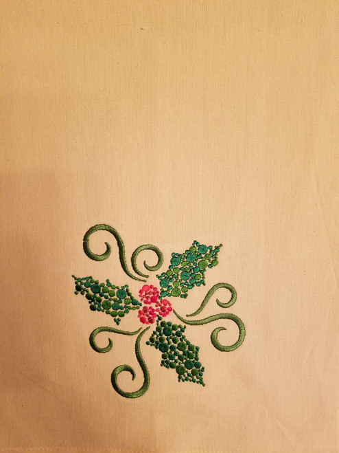 """Holly - Kitchen Towel - 20"""" x 28"""" Embroidery on a cream colored towel. 100% Cotton with loop, for optional hanging. Machine washable in cool water and tumble dry at low temperature. Minimal shrinkage. Size: 20"""" x 28"""""""