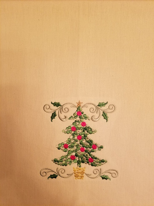 "Christmas Tree - Kitchen Towel - 20"" x 28"" Embroidery on a cream colored towel. 100% Cotton with loop, for optional hanging. Machine washable in cool water and tumble dry at low temperature. Minimal shrinkage. Size: 20"" x 28"""