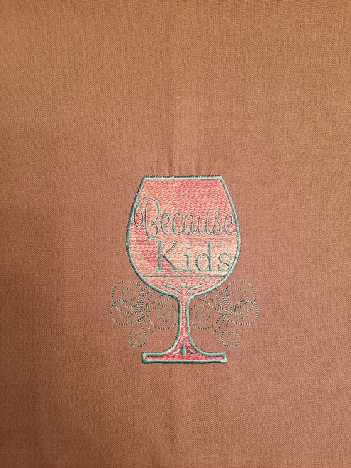 """Because Kids - Kitchen Towel - 20"""" x 28"""" Embroidery on a grey towel. 100% Cotton with loop, for optional hanging. Machine washable in cool water and tumble dry at low temperature. Minimal shrinkage. Size: 20"""" x 28"""""""