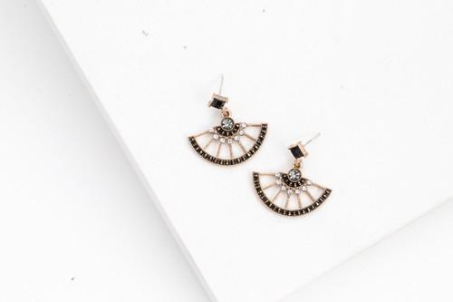 Mata Hari Black Fan Earrings