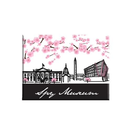 Cherry Blossom Ceramic Magnet