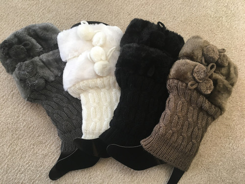 Boot Cuffs with Furry Pom