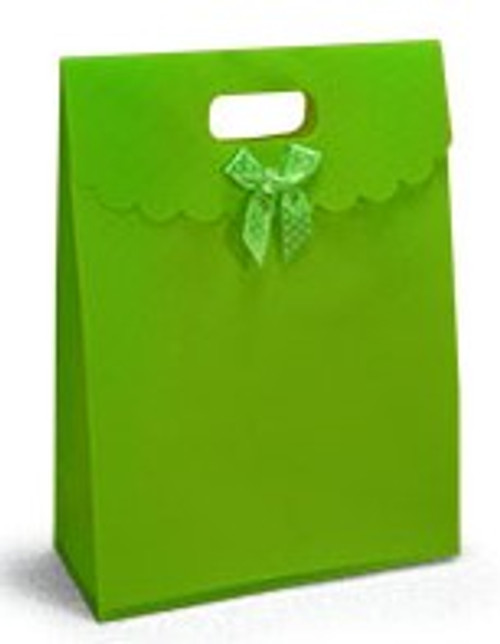 These bags have a fabric texture feel, but are actually made from a matte polypropylene recyclable plastic.  They have a cut decorative bow on the front and a plastic closure snap withat secure everything inside until you are ready to open it.  These bags carry like a bag but look like a gift.  They are great for skin care sets.
