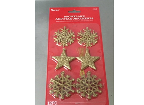 "2"" Snowflakes Ornaments Gold - 12pk"