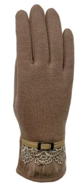 Gloves - Belted Lace Ladies Glove with Faux Fur Accent