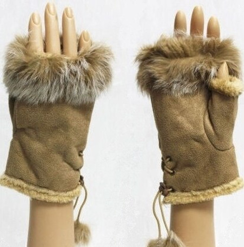 Gloves - Faux Fur Texting (Camel)