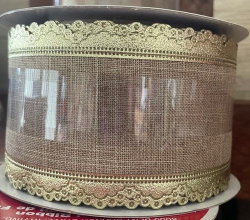 Wired Ribbon - Natural with gold lace edge