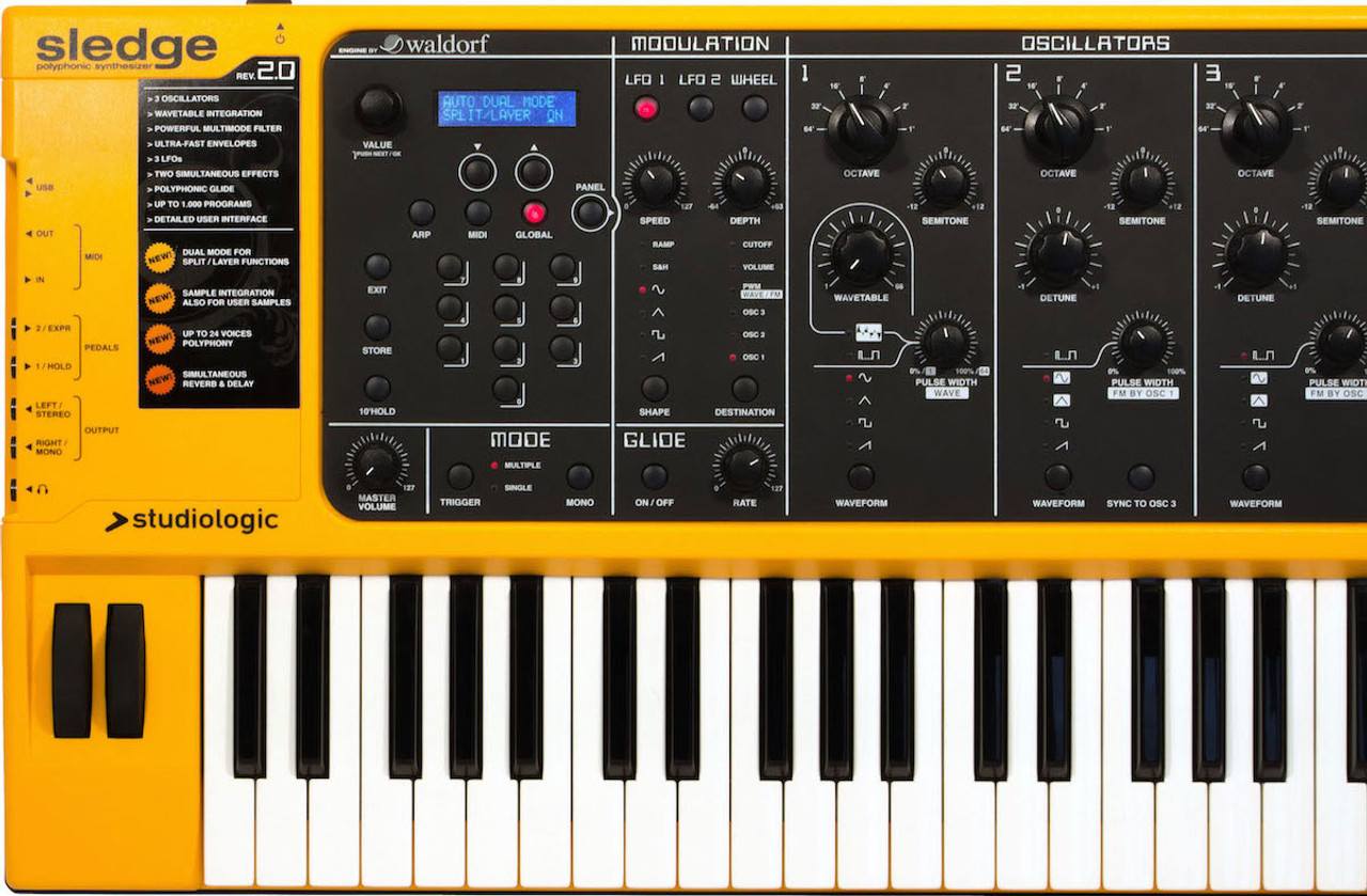 Studiologic Sledge 2 0 61-key Virtual-analog Synthesizer, with Fatar TP-9  Keybed, Full Hands-on Controls, Waldorf PPG Synth Engine, Sampling, and