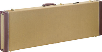 Stagg Vintage-style series gold tweed deluxe hardshell case for electric bass guitar, square-shaped model