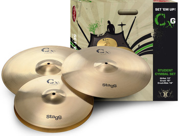 Stagg CXG-SET Brass Starter Cymbal Set with 13-Inch Hi-Hats, 16-Inch Crash and 18-Inch Crash Ride Cymbal