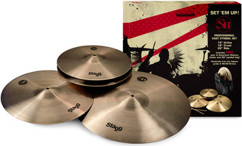 Stagg SH-SET SH Series Cymbals Set with 14-Inch Hi-Hats, 16-Inch Crash, 20-Inch Ride, Cymbal Bag and Pair of Stick