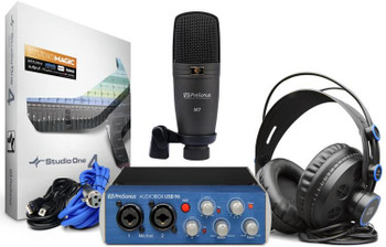 PreSonus AudioBox 96 Studio USB 2.0 Hardware/Software Recording Kit 2-in/4-out 24-bit/96kHz USB 2.0 Audio Interface with Studio One Artist DAW Software, Large-diaphragm Condenser Microphone, and Headphones - Mac/PC