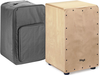 Stagg Standard-sized birch cajón with natural front board finish