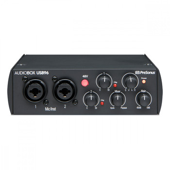 PreSonus AudioBox USB 96 USB  25th Anniversary Edition 2-channel 24-bit/96kHz USB 2.0 Audio Recording Interface with 2 Instrument/Microphone Preamps, Low-latency Monitoring, and Studio One Artist DAW Software (Mac/PC) - Black,