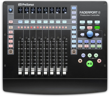 PreSonus FaderPort 8 Production Controller USB Control Surface with 8 Touch-sensitive Motorized Faders, 8 Scribble Strip Displays, and Footswitch Input