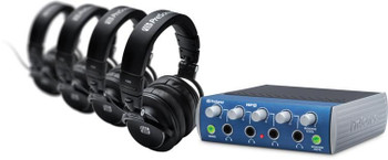 PreSonus HD9/HP4 Pack Headphone Amplifier with Headphones Headphone Monitoring Bundle, with 4 x HD9 Closed-back Headphones, and HP 4-channel Stereo Headphone Amplifier