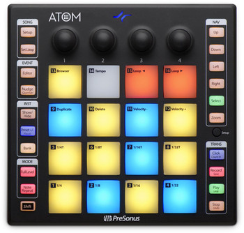 PreSonus ATOM Pad Groove Production Hwr Control Surface w 16 Velocity+Pressure+sensitive Pads, 4 Rotary Encoders, Switchable Polyphonic Aftertouch/Ch Pressure/MIDI CC Message Modes, Selectable Pad Velocity Curves+Pressure Thresholds,8Pad Banks,USB2.0