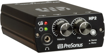 PreSonus HP2-15 Personal Headphone Amplifier Battery-powered Stereo Headphone Amp with TRS Inputs, 9V Battery or DC Power Supply, and Belt Clip