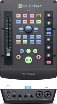 PreSonus ioSTATION 24c 2x2 USB-C Audio Interface Production Controller 2-in/2-Out 2 XMAX Preamps, 100mm Motorized Fader, Transport Control with Solo, Mute, and Record Arm, Studio One Artist DAW,  Studio Magic Plug-in Suite - Mac/PC