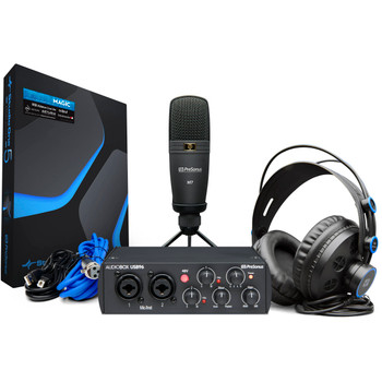 PreSonus AudioBox 96 Studio - 25th Anniversary Edition 2-in/4-out 24-bit/96kHz USB 2.0 Audio Interface with Studio One Artist DAW Software, Studio Magic Plug-in Suite, Large-diaphragm Condenser Mic and Headphones - Black, Mac/PC