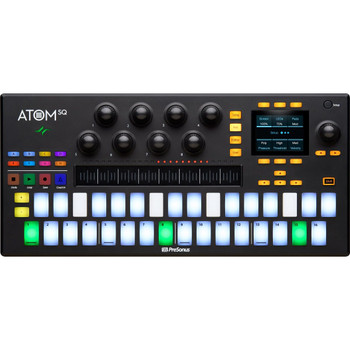 PreSonus ATOM SQ Keyboard/Pad Hybrid MIDI Keyboard/Pad Performance and Production Controller Production Hardware Control Surface with 32-velocity and Pressure-sensitive Pads, 8 Rotary Encoders, Touchstrip, Bundled Software, and USB Connectivity