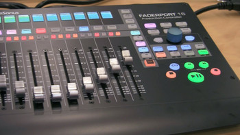 PreSonus Faderport 16 Production Controller USB Control Surface with 16 Touch-sensitive Motorized Faders, 16 Scribble Strip Displays, and Footswitch Input