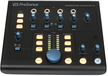 PreSonus Monitor Station V2 Desktop Monitor Controller with Input and Output Routing, 4 Headphone Outs with Individual Levels, Source Selection, S/PDIF Digital Input, and Talkback Mic - Black