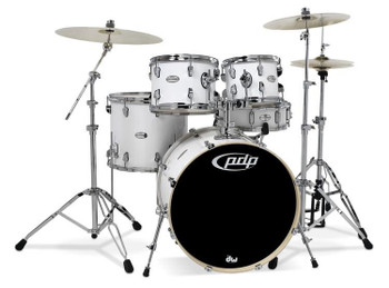 PDP Mainstage 5-piece Drum Set with Hardware & Paiste Cymbals - Gloss White
