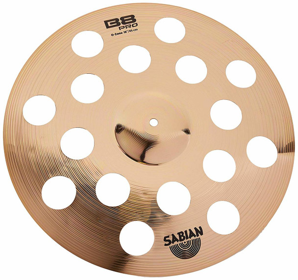 "Sabian B8 Pro O-Zone  Effect Cymbal- 18"" , with Multi-hole Design"