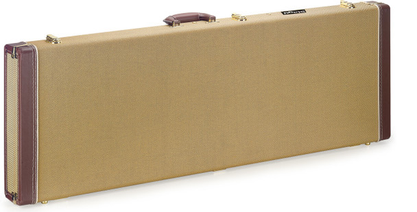 Stagg Vintage-style series gold tweed deluxe hardshell case for electric guitar, square-shaped model