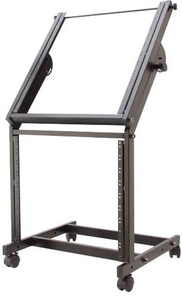 """Stagg Adjustable 19""""/12U+9U rack trolley, for power amps and mixers"""