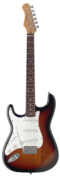 Stagg S300LH-SB Stratocaster Standard Left Handed Electric Guitar - Sunburst