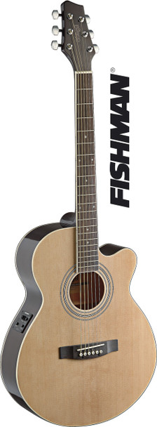 Stagg SA40MJCFI-N Mini Jumbo Cutaway Acoustic-Electric Guitar with FISHMAN Preamp Electronics - Natural