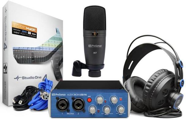 PreSonus AudioBox 96 Studio USB 2.0 Hardware/Software Recording Kit 2-in/4-out 24-bit/96kHz USB 2.0 Audio Interface with Studio One Artist DAW Software, Large-diaphragm Condenser Microphone, and Headphones - Mac/PC