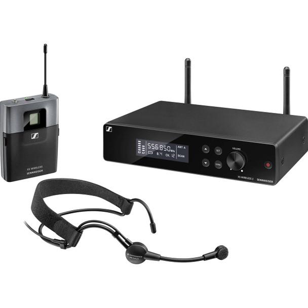 Sennheiser XSW 2-ME3 Wireless Headworn Microphone System - A Range XS Wireless System with ME 3 Headworn Microphone, SK-XSW Bodypack Transmitter, and EM-XSW 2 Receiver - A Range (548-572MHz)