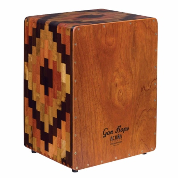 Gon Bops Alex Acuna Signature Cajon - Special Edition Traditional Peruvian Cajon with Peruvian Mohena Hardwood Construction, Precision Dovetailed Corners, Lacquer Finish, and Gig Bag