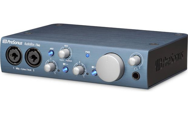 PreSonus AudioBox iTwo 2-in/2-out USB Audio Interface with 2 x XLR/TRS Combo Inputs, Studio One Artist DAW Software (Mac/PC), and Capture Duo App (iPad)