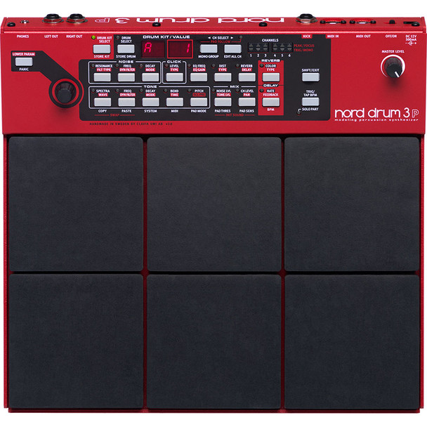 Nord Modeling Percussion Synthesizer Multi-pad 6-part Modeling Percussion Synthesizer with Resonance, Subtractive, and FM Synthesis; 6 Performance Pads; Onboard FX; and MIDI I/O
